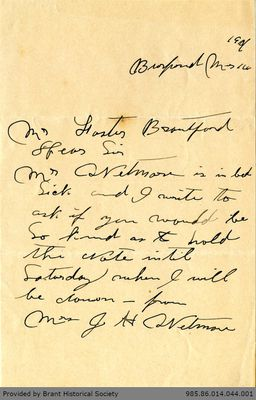Letter to George Foster and Sons from J. H. Wetman