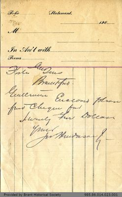 Letter to George Foster and Sons from J. Henderson
