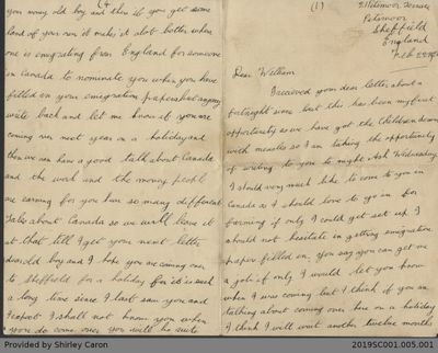 Letter to William Clarke from Uncle Bernard and Auntie Ada Mason