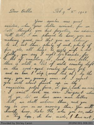 Letter to William Clarke from Uncle Jack and Aunt Ethel