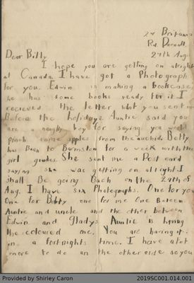 Letter to William Clarke from Vera Clarke