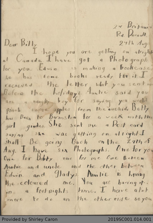 Letter to William Clarke from Vera Clarke