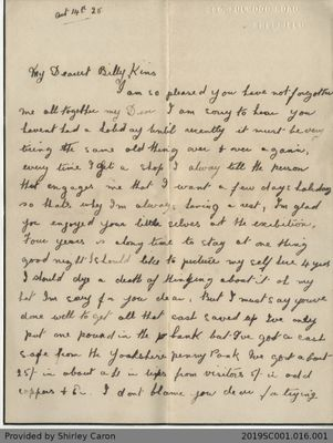 Letter to William Clarke from Florence Clarke