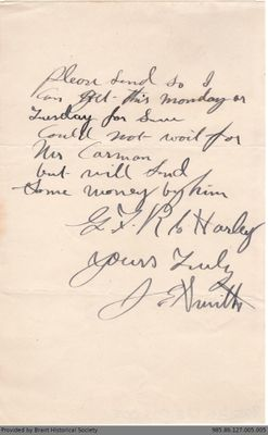 Letter to George Foster and Sons from J.E. Smith