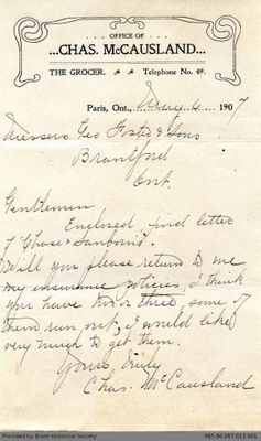 Letter to George Foster and Sons from Charles McCausland