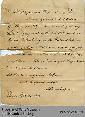 Letter From Hiram Capron Protesting the Lack of a Wagon Road