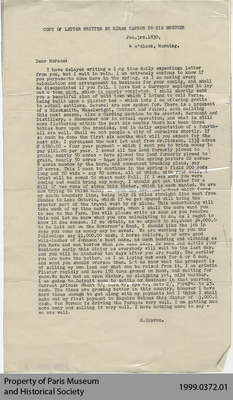 Copy of Letter Written by Hiram Capron to his Brother Horace