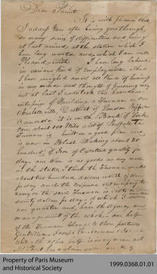 Letter from Hiram Capron to his Parents