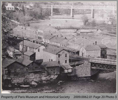 View of Hugh Finlayson's tannery near the Grand River Street bridge