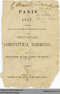 Paris in 1857. Prepared for the Information of Visitors. To the Provincial Agricultural Exhibition, Held at Brantford, in the County of Brant, C. W.