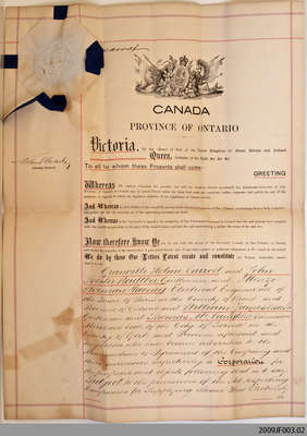 Letters Patent Incorporating the Grand River Electrical Power Company, Ltd., 1898