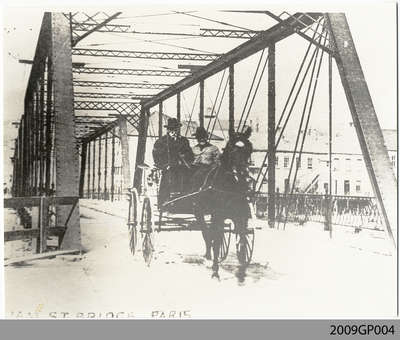 John Penman on Horse Cart on William St. Bridge, Paris, ON