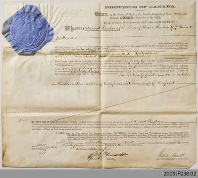 Crown Sale Grant to Edward Harbin, Burford, 1864