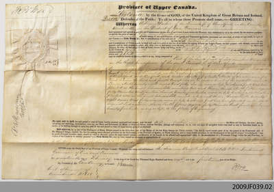 Crown Sale Grant to William Dickie, Brantford Township, 1838