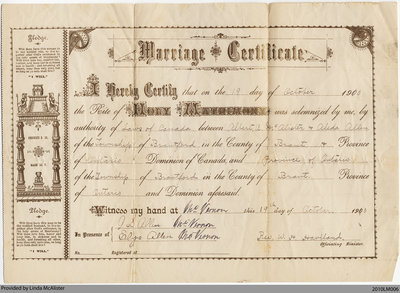 Marriage Certificate for Albert A. McAlister & Aleda Allen, 1900