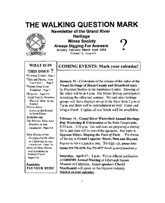 The Walking Question Mark, January/February/March/April 2004