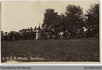 Grand Trunk Railway Wreck, Burford, c. 1905-1909