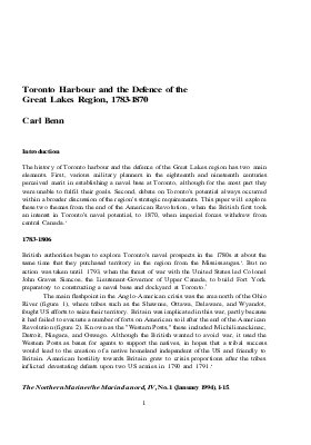 Toronto Harbour and the Defence of the Great Lakes Region, 1783-1870