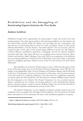 Prohibition and the Smuggling of Intoxicating Liquors between the Two Saults