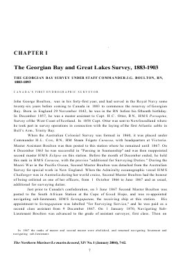 The Georgian Bay and Great Lakes Survey, 1883-1903