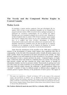 The Novelty and the Compound Marine Engine in Central Canada