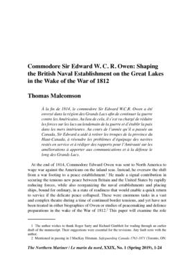 Commodore Sir Edward W. C. R. Owen: Shaping the British Naval Establishment on the Great Lakes in the Wake of the War of 1812