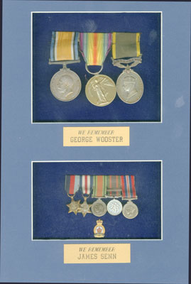 Framed medals of George Wooster and James Senn