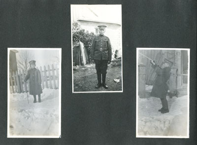 Page from family photo album with 3 photos