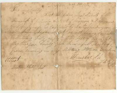 Medical Discharge Certificate- Isaac Smith, November 4, 1812