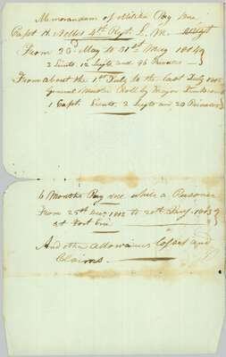 Memorandum of Pay and Allowance due to Captain H. Nelles