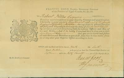 Military Commission of Robert Nelles-  October 10, 1815