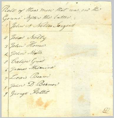 """Roll of thoes (sic) men that was on the Ground after the battle"", addressed to Captain Wm. Nelles- 1812"