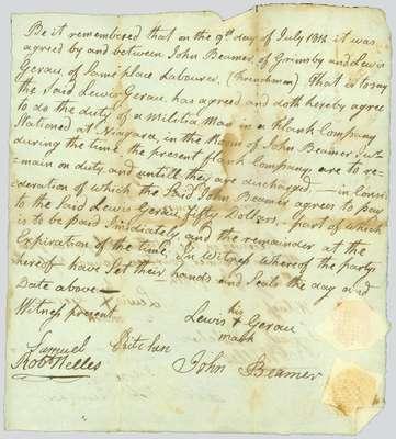 Handwritten agreement between John Beamer of Grimsby and Lewis Gerau of Grimsby- July 9, 1812,
