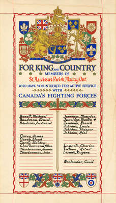 Honour Roll: Members of St Narcissus Parish, Mackey Ontario, Who Enlisted with Canada's Fighting Forces