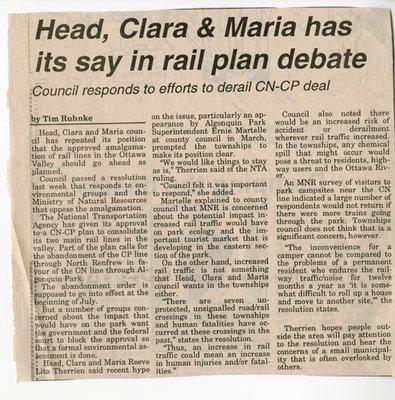 Head, Clara & Maria has its Say in Rail Plan Debate