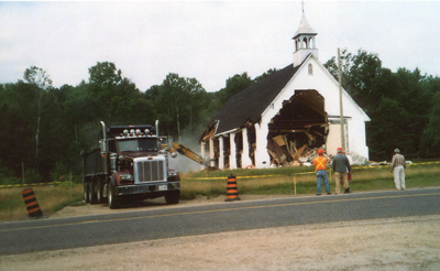 Beginning of the Demolition of Our Lady of the Snows Catholic Church, Stonecliffe