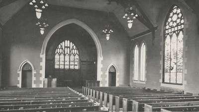 Knox Presbyterian Church, Oakville: Interior circa 1933.