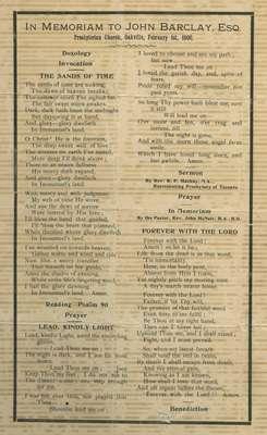 In memoriam to John Barclay, Esq. : Presbyterian Church, Oakville, February 1st, 1900.