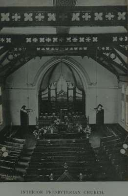 Knox Presbyterian Church, Oakville: interior circa 1888.