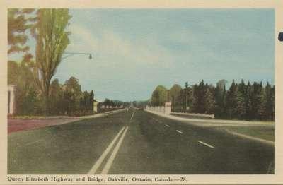 Queen Elizabeth Highway and Bridge, Oakville, Ontario, Canada.