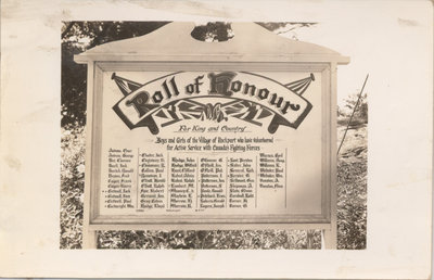 Honour Roll Plaque, Rockport, ON