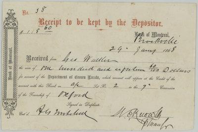 Bank of Montreal Receipt
