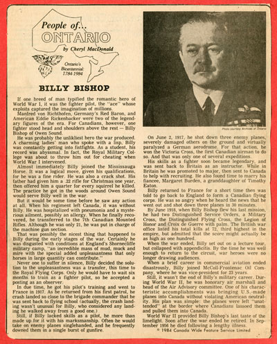 People of Ontario...Billy Bishop