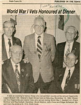 WWI veterans honoured at dinner