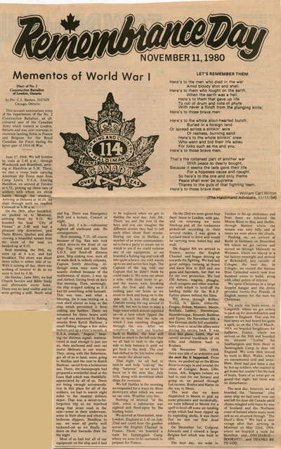 Remembrance Day November 11, 1980:  Mementos of World War I