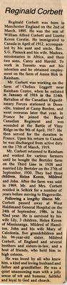 Reginald Corbett, Obituary