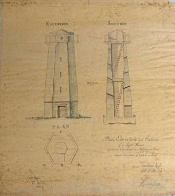 Lighthouse at Mississauga Point- 1909 copy of an 1804 original plan