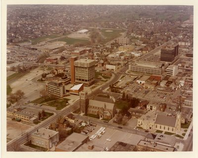 LH0074 Downtown Oshawa - Aerial wiew of City Hall and area
