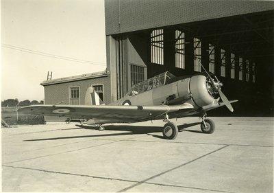 LH2708 Airplane outside hangar at Oshawa airport