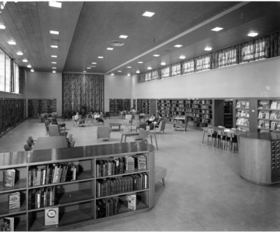 LH2966 Oshawa Public Libraries, McLaughlin Branch: Main Reading Room, 1958